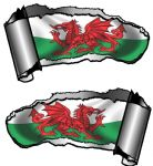 Small Pair Ripped Torn Metal Gash Design & Welsh Wales CYMRU Flag Vinyl Car Sticker 93x50mm each